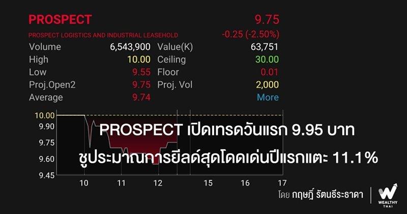 PROSPECT เปิดเทรดวันแรก 9.95 บาท ชูประมาณการยีลด์สุดโดดเด่นปีแรกแตะ 11.1%